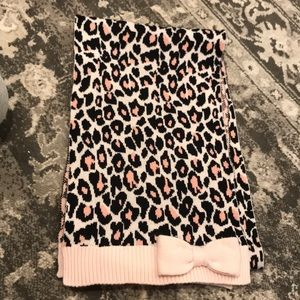 Kate Spade pink & black leopard scarf with bow